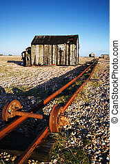 Rails on the beach at Dungeness