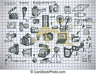 hand drawn photographer accesories isolated on the old...