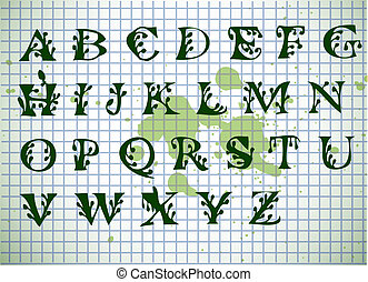 hand writen green alphabet