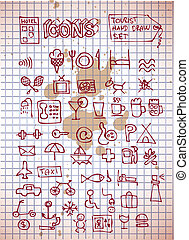 hotel and rerstaurant icons isolated on the old paper