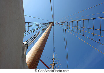 Foresail, Jib, and Wooden Mast of a sailing yacht