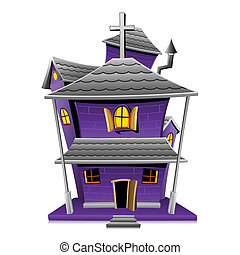 Haunted House - illustration of haunted house in night view