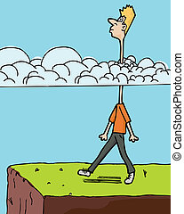Head In The Clouds - Man walks toward a ledge with long neck...