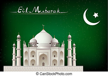 Eid Mubarak - illustration of eid mubarak card with mosque...