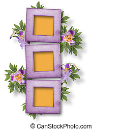 Frames and bunch of flower on the white isolated background