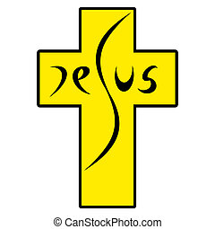 Jesus on Cross, abstract contemporary art illustration...
