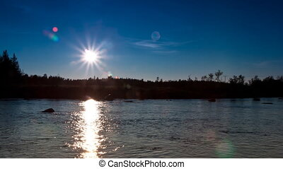 clear sky at sunset on the river