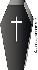 Black coffin with white cross isolated on white background