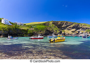 Colorful fishing boats at Harbour of Port Isaac, Cornwall,...