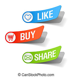 Buy, like and share labels - Vector illustration of buy,...