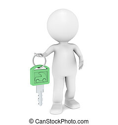 Green Energy - 3D little human character with a Car Key....