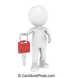 Car Key - 3D little human character with a Car Key Red