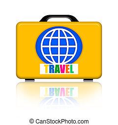 Travel suitcase - Travel kit case isolated on white...