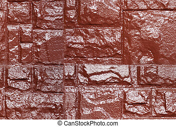 Brown color painted stone wall, seamless texture - Brown...
