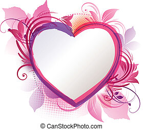Pink Heart Floral Background - Vector art of a pink floral...