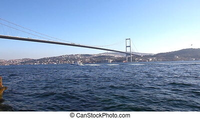 The Bosphorus - Europe with Asia and a traffic, shooting...