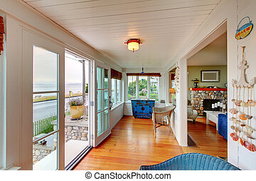 Ameican Cozy beach entrance living room cottage
