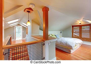 dormitorio, ático, escalera, cielo, luces