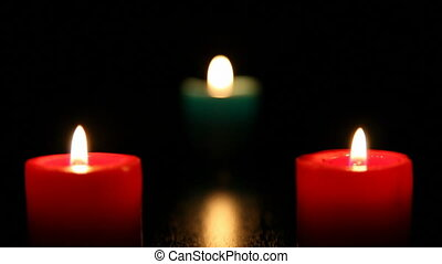 three candle burning, shooting Canon 5D MarkII