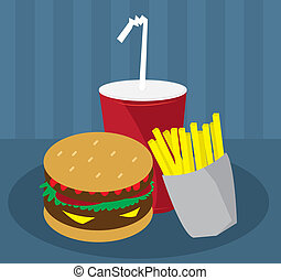 Hamburger, Fries and Drink Fast Food