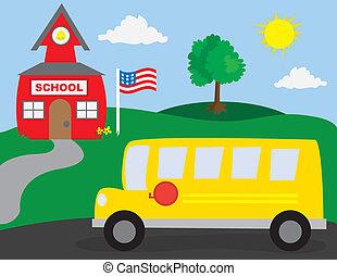School and School Bus - School Scene with School Bus