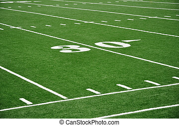 Thirty Yard Line on American Football Field - 30 Yard Line...