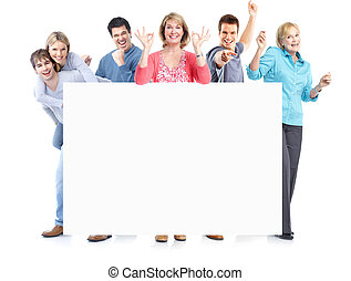 Happy people. - Group of happy people with placard. Over...