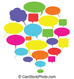 Talk, thought and speech bubbles - Various colorful talk,...