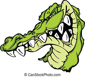 Gator or Alligator Mascot Cartoon - Cartoon Image of a...