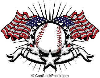 Baseball with Flags and Stars - Stars and Stripes Patriotic...