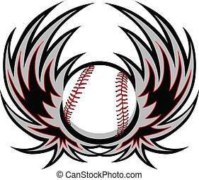 Baseball with Wings - Graphic baseball image with wings