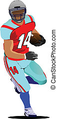 American football player s silhouettes in action. Vector...