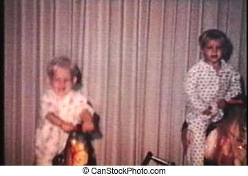 Sisters On Rocking Horses (1969) - Two cute blond sisters...