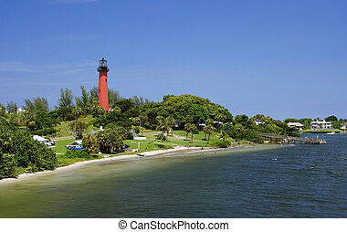Jupiter Inlet - The Old Jupiter Inlet Lighthouse in Jupiter,...