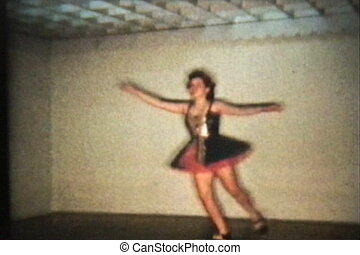 Tap Dancing Teenage Girl 1958 - A beautiful teenage girl...