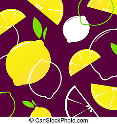 Vector Lemon slices retro background or pattern - yellow and...