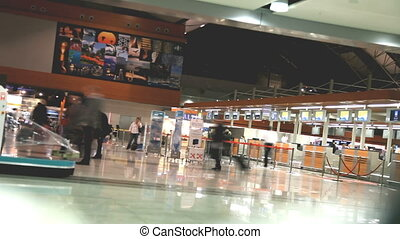 airport - Time lapse of people in the Airport, shooting...