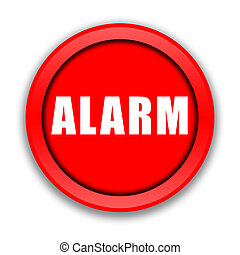 Alarm button - Big red Alarm button over white background