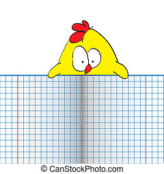 Chicken with copybook. Place for your text.