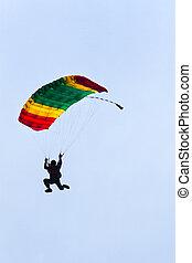 parachutiste, démontre, Sauter, avion