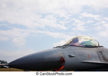 The nose of an F-16 fighter jet at the Abbotsford Airshow on...