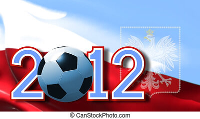 Euro 2012 Polish - Adstract render of date 2012 and ball on...