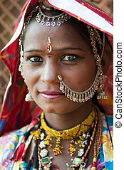 Indian woman - Portrait of a India Rajasthani woman