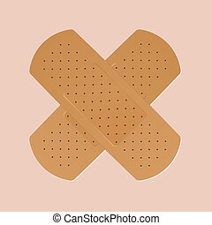 Band-aid - band-aid plaster in cross shape on pink...