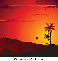 Sunset in Desert - illustration of sunset view of desert...