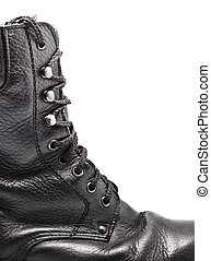 Black Leather Army Boot - black leather army boot isolated...