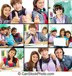 Teenage students - Collage of cute teens in studying process...
