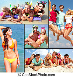 Vacation by the sea - Collage of happy young adults having...