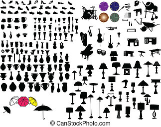 objects - Big collection of objects silhouette - vector