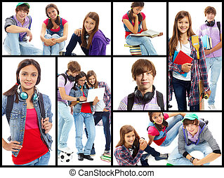 College students - Collage of cute teens in studying process...